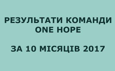 Результати команди ONE HOPE (січень-жовтень 2017)